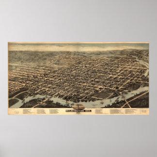 Mapa ilustrado del vintage de Wilmington DE (1874) Póster
