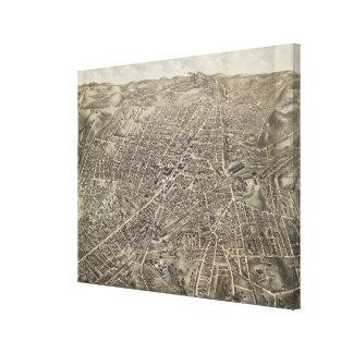 Mapa ilustrado del vintage de Worcester mA (1878) Lienzo Envuelto Para Galerías