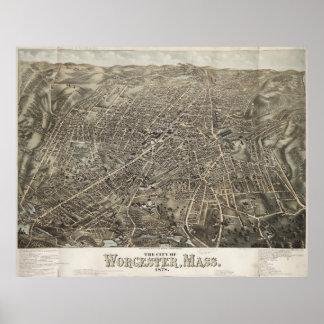 Mapa ilustrado del vintage de Worcester mA (1878) Poster