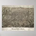 Mapa ilustrado del vintage de Worcester mA (1878) Póster