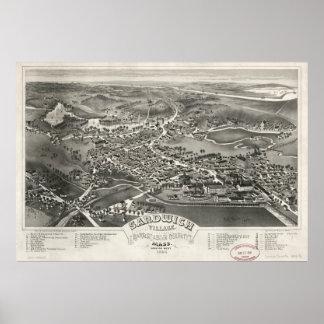 Mapa ilustrado del vintage del bocadillo mA (1884) Poster
