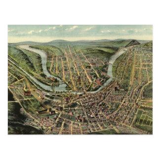 Mapa ilustrado del vintage del Cumberland MD Tarjetas Postales