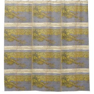 Mapa ilustrado del vintage del golfo (1861) cortina de baño