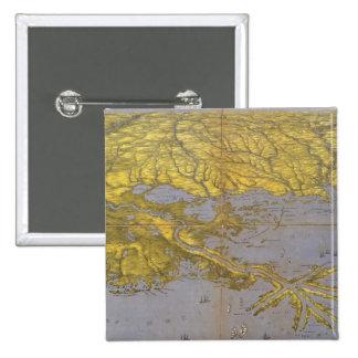 Mapa ilustrado del vintage del golfo 1861 pin