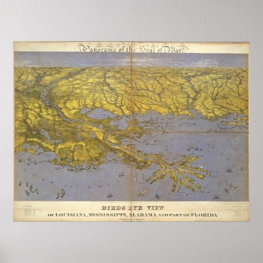 Mapa ilustrado del vintage del golfo (1861) póster