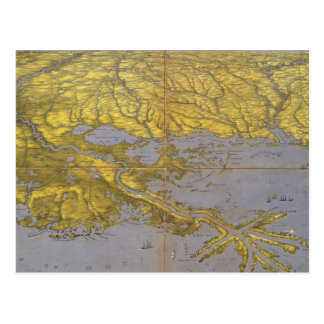 Mapa ilustrado del vintage del golfo 1861 postales