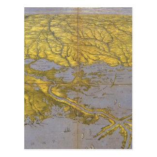 Mapa ilustrado del vintage del golfo (1861) tarjetas postales
