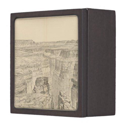 Mapa ilustrado del vintage del Gran Cañón (1895) Cajas De Joyas De Calidad