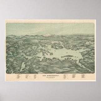Mapa ilustrado del vintage del lago Winnipesaukee Póster