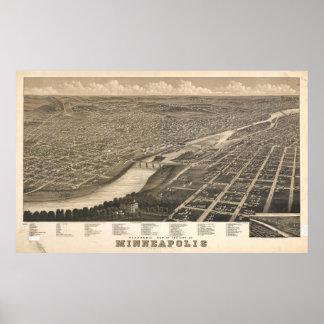 Mapa ilustrado del vintage del manganeso de póster