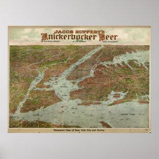 Mapa ilustrado del vintage Del NYC Area (1912) Póster