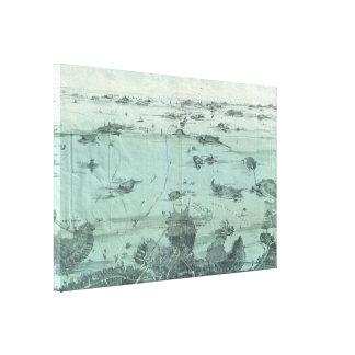 Mapa ilustrado del vintage del puerto de Boston (1 Lona Envuelta Para Galerias