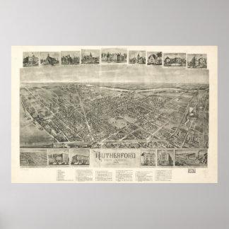 Mapa ilustrado del vintage del Rutherford NJ Póster