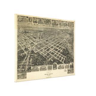 Mapa ilustrado del vintage del soporte rocoso NC Lienzo Envuelto Para Galerias
