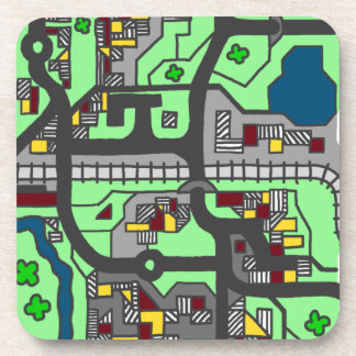 Mapa ilustrativo de la ciudad posavasos de bebida