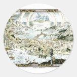 Mapa imaginario del Fairyland de 1920 obras Pegatina Redonda