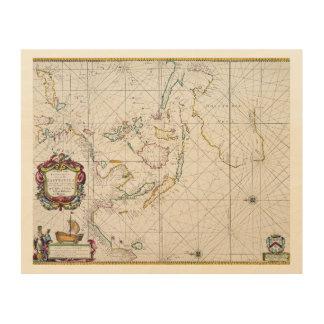 MAPA: INDIES DEL ESTE, 1670 IMPRESIONES EN MADERA