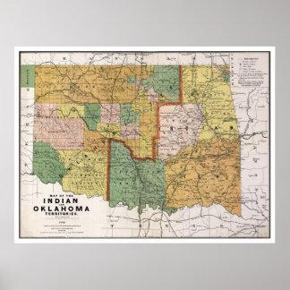 Mapa indio 1892 de la AUTORIZACIÓN del territorio Posters