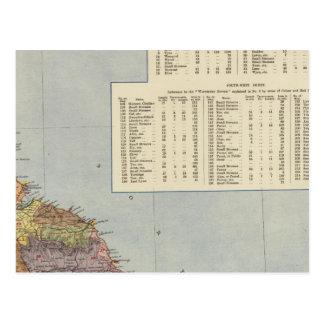 Mapa Inglaterra, País de Gales 2 de la línea Tarjeta Postal