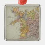 Mapa Inglaterra, País de Gales 3 de la línea Adorno Navideño Cuadrado De Metal