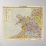 Mapa Inglaterra, País de Gales 3 de la línea divis Póster