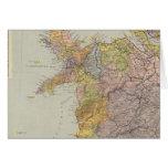 Mapa Inglaterra, País de Gales 3 de la línea divis Tarjeta De Felicitación