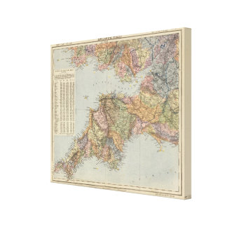 Mapa Inglaterra, País de Gales 5 de la línea divis Impresiones En Lienzo Estiradas