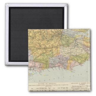 Mapa Inglaterra, País de Gales 6 de la línea divis Imán Cuadrado