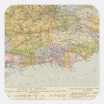Mapa Inglaterra, País de Gales 6 de la línea Pegatina Cuadrada