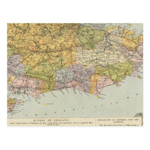 Mapa Inglaterra, País de Gales 6 de la línea Postales