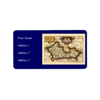 Mapa inglés viejo del condado por la velocidad de etiquetas de dirección