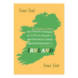Mapa irlandés de la partitura del tono de la tarjetas de visita grandes