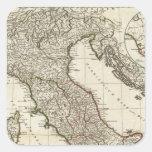 Mapa italiano clásico calcomanía cuadrada