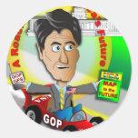 Mapa itinerario de Romney Ryan Pegatina Redonda