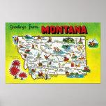Mapa itinerario del estado, saludos de póster