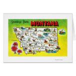 Mapa itinerario del estado, saludos de tarjeta de felicitación