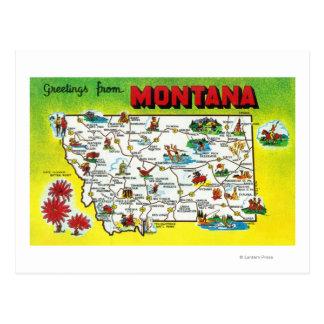 Mapa itinerario del estado, saludos de postales