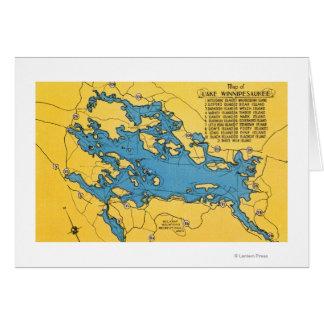 Mapa itinerario del lago y de las carreteras tarjetón