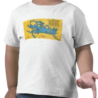 Mapa itinerario del lago y de las carreteras camisetas
