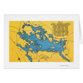 Mapa itinerario del lago y de las carreteras tarjeta de felicitación
