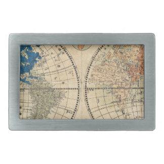Mapa japonés 1848 del mundo en dos hemisferios hebillas de cinturón rectangulares
