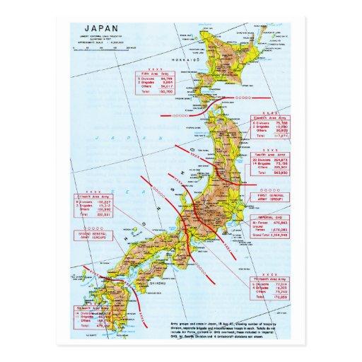 Mapa japonés de la Segunda Guerra Mundial de las Postales