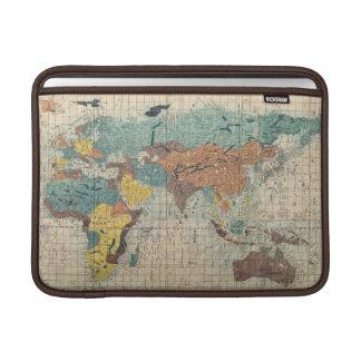 Mapa japonés del vintage del mundo funda  MacBook