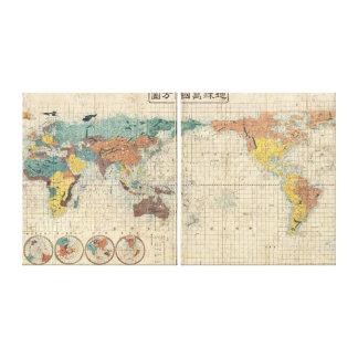 Mapa japonés del vintage del mundo lona estirada galerías