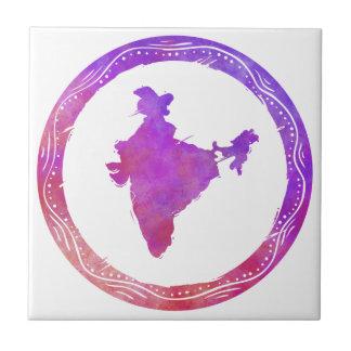 Mapa la India Azulejo Cuadrado Pequeño