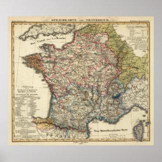 Mapa lingüístico de Francia Póster