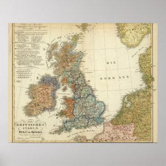 Mapa lingüístico de islas británicas poster