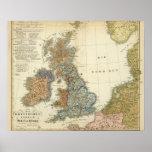 Mapa lingüístico de islas británicas póster