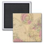 Mapa litografiado coloreado mano del mundo imán cuadrado
