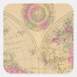 Mapa litografiado coloreado mano del mundo pegatina cuadrada